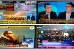 Burtieră la minut, ora 19.01. Cum arată protestele de duminică seara pe televiziunile de știri din Romania