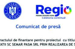 """Semnarea contractului de finantare pentru proiectul  cu titlul: """"Cresterea competitivitatii SC Semar Pasm SRL prin realizarea de servicii noi """""""
