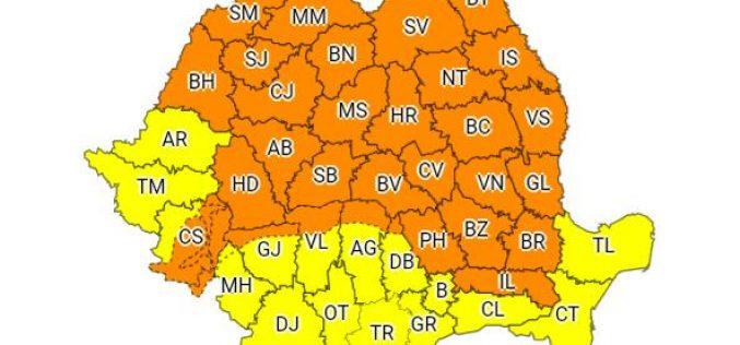 Cod Portocaliu de vreme severă. Zonele afectate și recomandările Inspectoratului pentru Situații de Urgență
