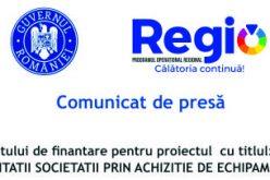 """Semnarea contractului de finantare pentru proiectul  cu titlul: """"DIVERSIFICAREA ACTIVITATII SOCIETATII PRIN ACHIZITIE DE ECHIPAMENTE"""""""